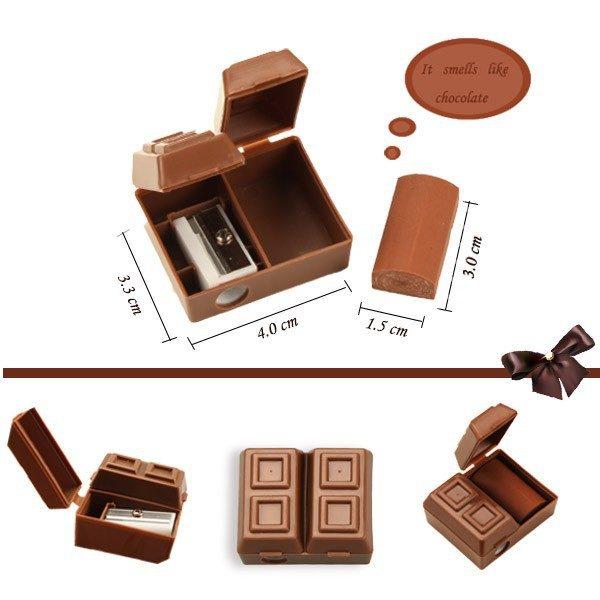 Точилка и ластик в виде шоколада