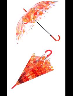 Прозрачный зонт с листьями