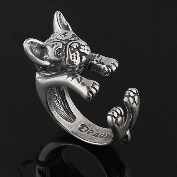 кольцо собачка бульдог