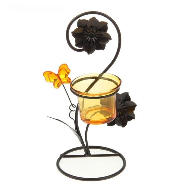 Подсвечник цветы и бабочки