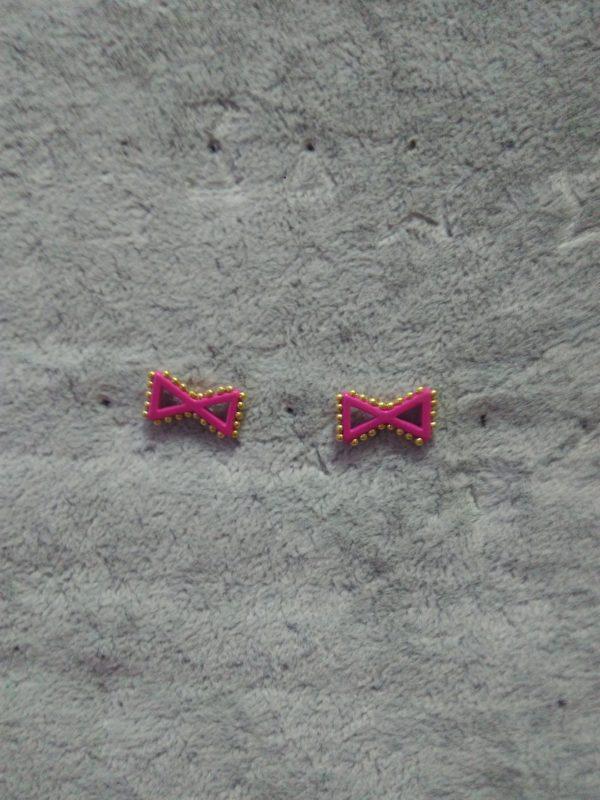 """Серьги """"Бантики"""" розовые"""