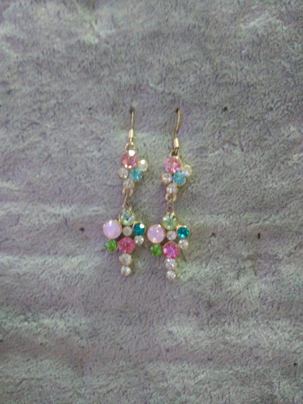 Серьги цветные самоцветы