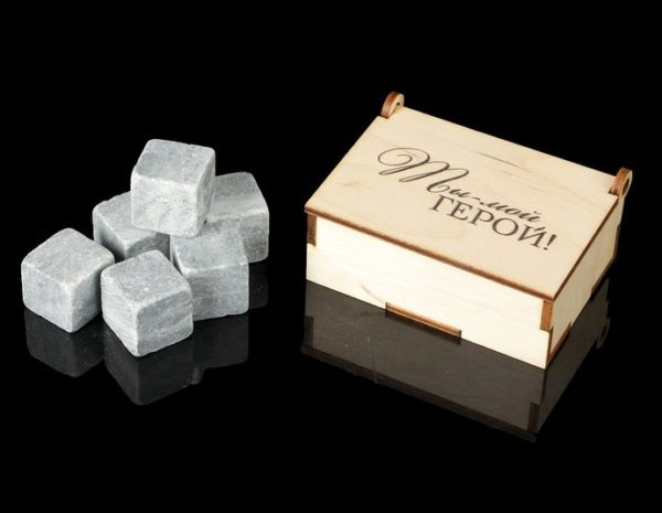 Камни для виски 6 шт в деревянной коробке - За тобой, как за каменной стеной