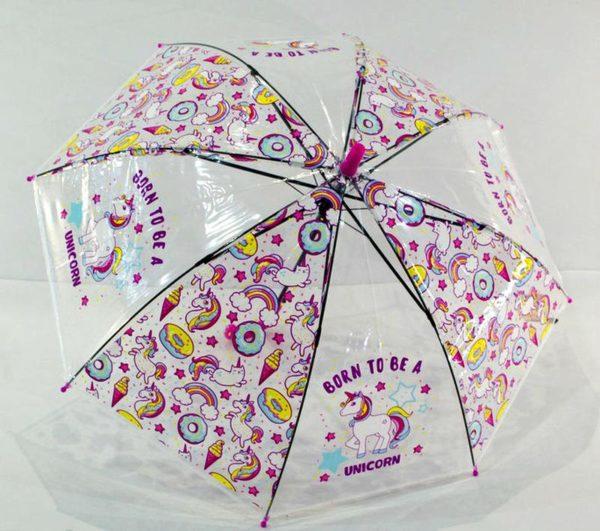 зонт прозрачный с единорогами