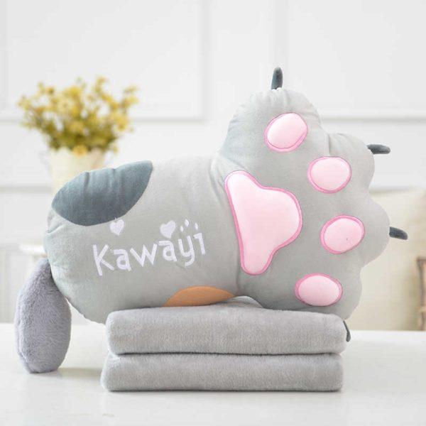 подушка плед кошачья лапка